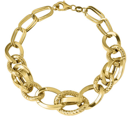 "Italian Gold 8"" Interlocking Station Link Bracelet 14K, 13.1g"