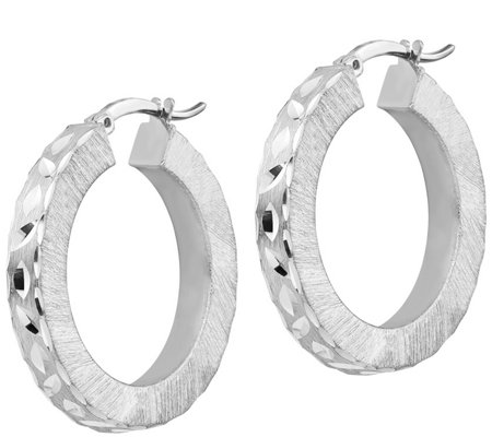 Italian Silver Diamond Cut Hoop Earrings