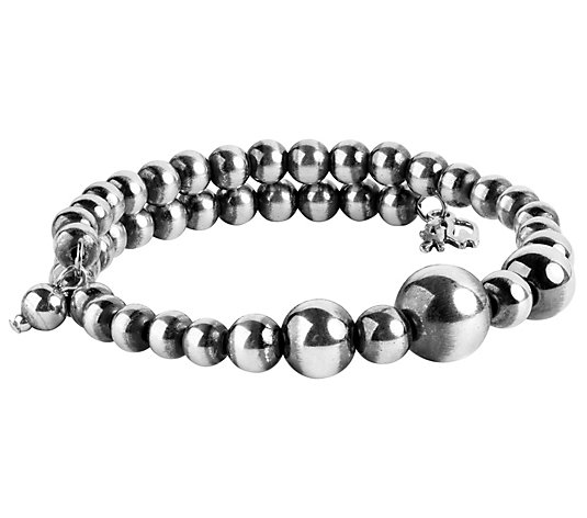 American West Classics Sterling Beaded Coil Wrap Bracelet