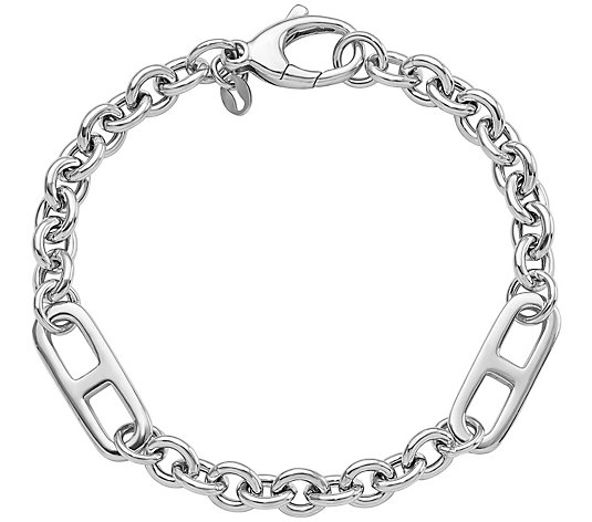 "Italian Silver 7-1/2"" Cable & Marine Link Bracelet, 12.3g"