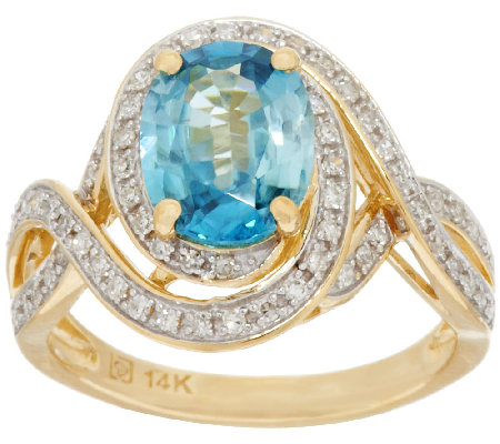 2.20 ct Blue Zircon & 1/4 ct tw Diamond Ring 14K Gold