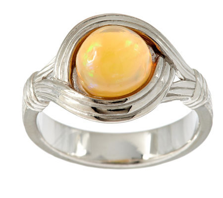 Ethiopian Opal Round Sterling Textured Ring