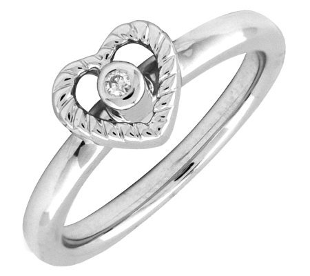 Simply Stacks Sterling Heart Ring with DiamondCenter