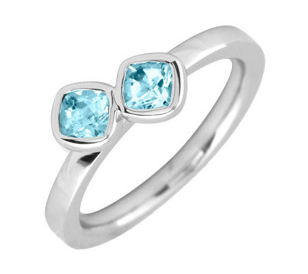 Simply Stacks Sterling Blue Topaz Double-SquareGemstone Ring