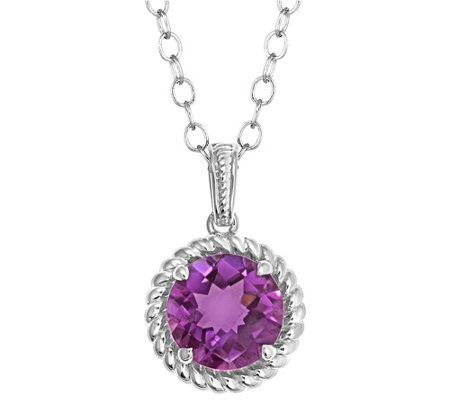 "Checkerboard Gemstone Pendant w/18"" Chain, Sterling Silver"