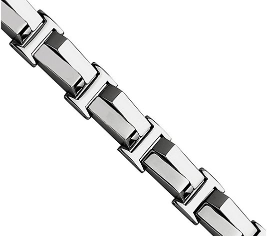 "Steel by Design Men's 8-1/4"" Polished Link B racelet"