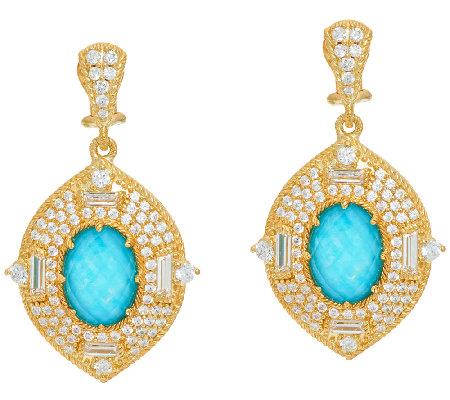 Judith Ripka 14K Clad 4.60 cttw Diamonique Earrings