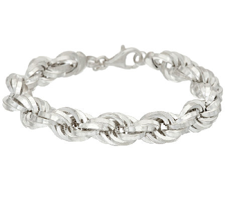 "UltraFine Silver 7-1/4"" Bold Polished Rope Bracelet 25.00g"