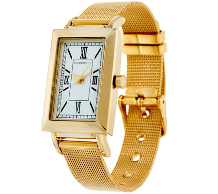 Isaac Mizrahi Live! Rectangular Watch with Mesh Strap