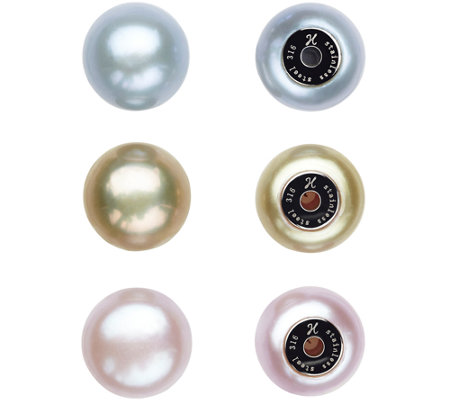Honora Set of 3 Pairs of Interchangeable Colored Button Pearl