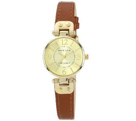 Anne Klein Goldtone Dial & Brown Faux Leather Strap Watch