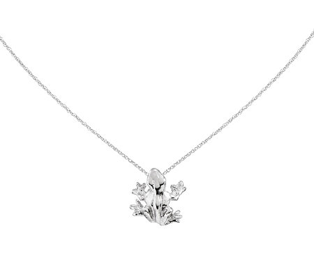 "Frog Slide w/18"" Chain, 14K White Gold"