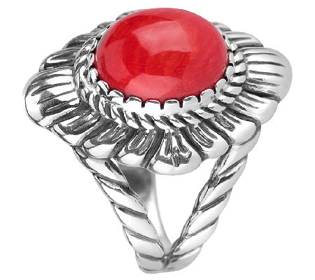 American West Sterling Red Coral Bold Ring
