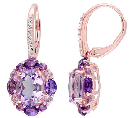 Sterling 5.45 cttw Amethyst & Rose de France Earrings