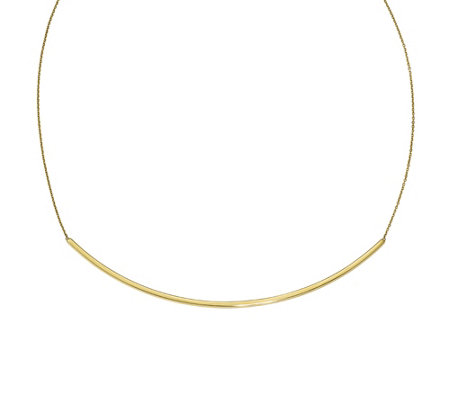 "14K Gold Polished Curved Bar 16"" Necklace, 3.9g"