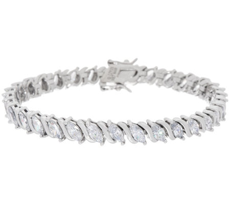 Diamonique Marquise Tennis Bracelet Sterling or 14K Clad