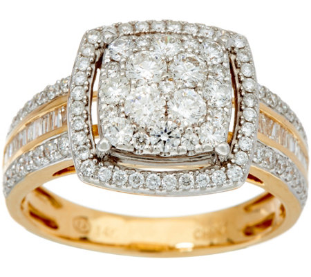 1.00 cttw Cushion Cluster Diamond Ring 14K Gold by Affinity