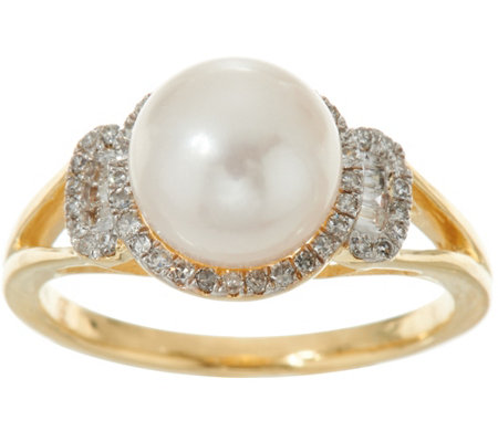 Honora Cultured Pearl & Diamond Ring 14K Gold
