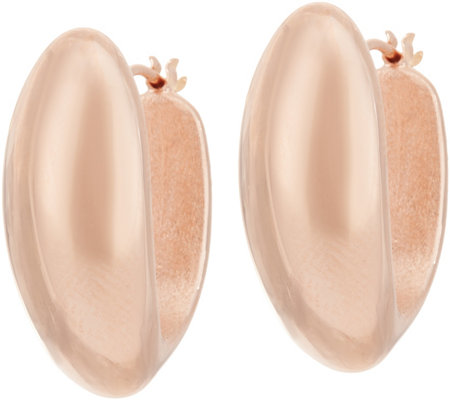 Bronze Bold Polished Oval Hoop Earrings by Bronzo Italia