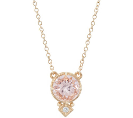 Judith Ripka 14K 1.40 cttw Morganite & Diamond Accent Necklace