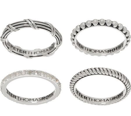 Peter Thomas Roth Sterling Silver & White Topaz Set of 4 Stack Rings