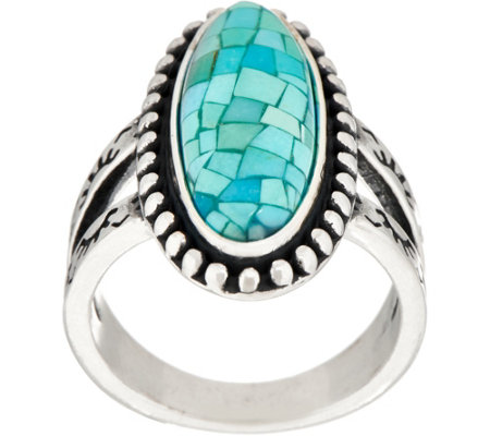 American West Sterling Silver Mosaic Turquoise Doublet Ring