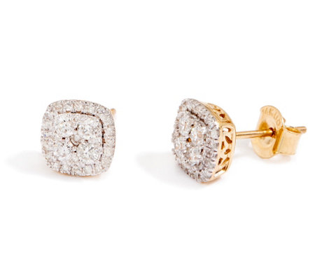 """As Is"" Cushion Cluster Diamond Stud Earrings, 14K 1/2 cttw"