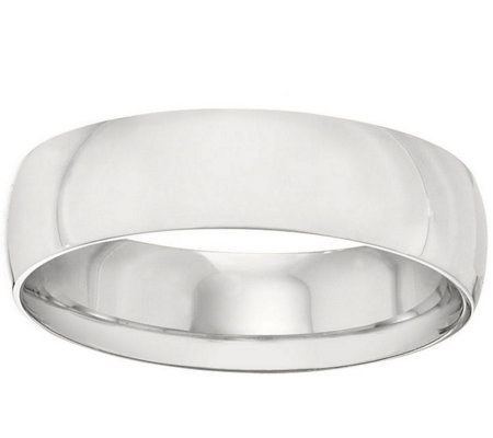 Men's 18K White Gold 6mm Half-Round Wedding Band