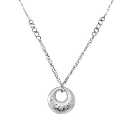 Sterling Round Satin Pendant w/ Chain, 7.3g bySilver Style