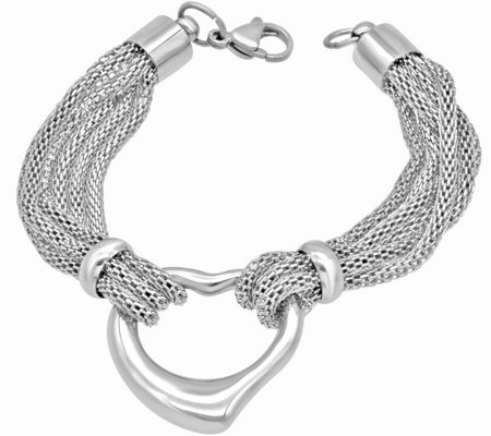 "Stainless Steel 7"" Open Heart Birdcage Chain Bracelet"