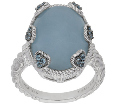 Judith Ripka Sterling Blue Topaz and AquamarineRing