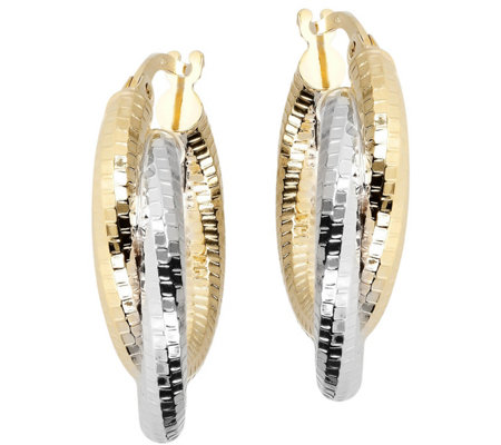 "Italian Gold Two-tone 3/4"" Round Hoop Earrings,14K"