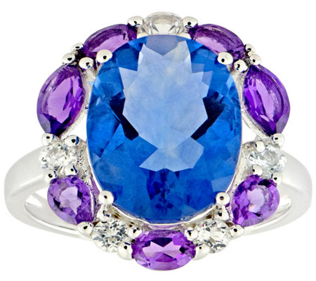 Sterling 8.00 cttw Fluorite w/ Multi-Gemstone Halo Ring