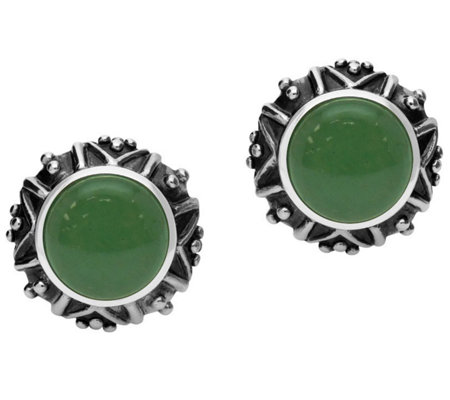 Elyse Ryan Sterling Silver Aventurine Button Earrings