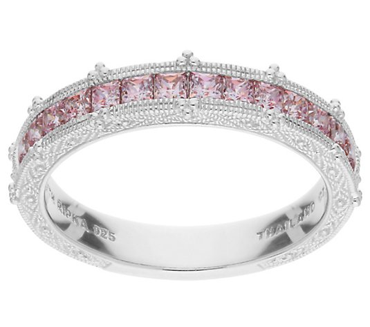 Judith Ripka Sterling Pink Diamonique Channel-Set Band Ring