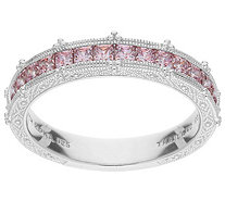 Judith Ripka Sterling Pink Diamonique Channel-Set Band Ring - J386971