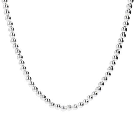 Ultrafine Silver 18 Polished Beads Necklace 14 6g
