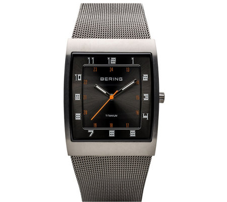 Bering Men's Black Dial Milanese Bracelet Watch