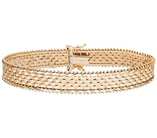 "Imperial Gold 7-1/4"" Wide Basket-Weave Bracelet14K,  20.5g"