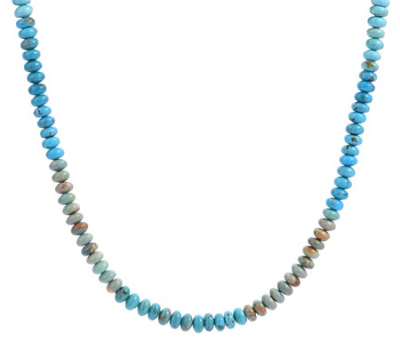 American West Sterling Shades Of Turquoise Bead Necklace