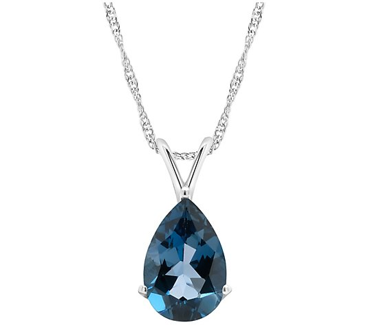 Sterling Silver 3.30 cttw London Blue Topaz Pendant w/ Chain