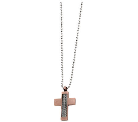 Forza Chocolate Brown-Plated Cross Necklace