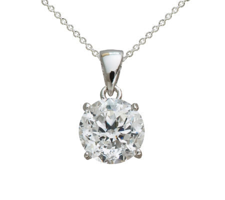 Diamonique 100-Facet Round Pendant w/ Chain, Platinum Clad