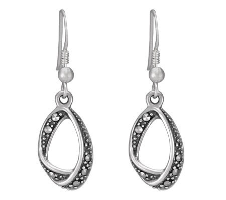 Suspicion Sterling Marcasite Open Teardrop Earrings