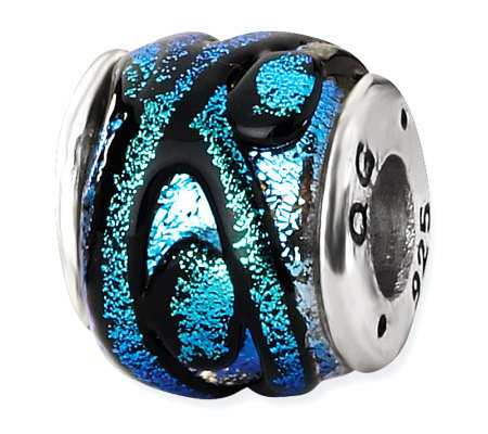 Prerogatives Sterling Blue Dichroic Glass Striped Bead