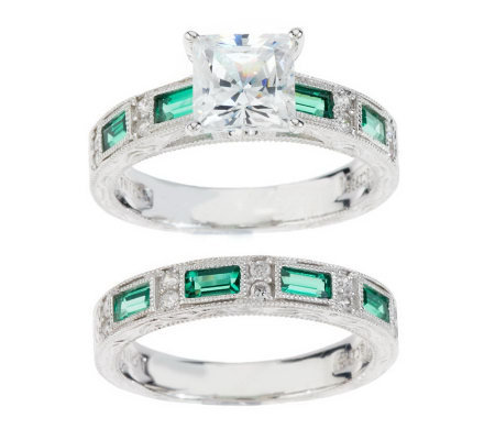 Epiphany Diamonique Engraved Princess Cut 2-pc. Ring Set