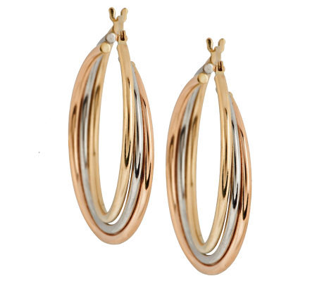 Eternagold Tri Color Triple Hoop Earrings 14k Gold