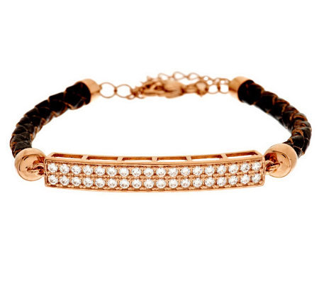Diamonique Leather Station Bracelet, 14K Clad/Sterling