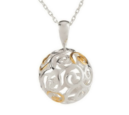"""As Is"" Solvar Sterling Silver & 18K Gold Plated Spiral Pendant"