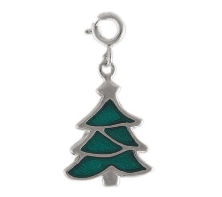 Sterling Pine Tree with Enamel